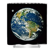 Composite Image Of Whole Earth Blue Shower Curtain