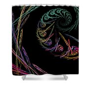 Computer Generated Abstract Fractal Flame Black Modern Art Shower Curtain
