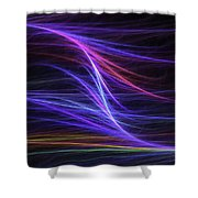 Computer Generated Blue Magenta Abstract Fractal Flame Modern Art Shower Curtain