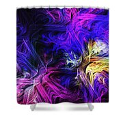 Computer Generated Blue Pink Abstract Fractal Flame Shower Curtain