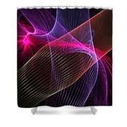 Computer Generated Blue Pink Abstract Fractal Flame Modern Art Shower Curtain