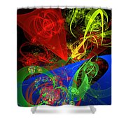 Computer Generated Blue Red Green Abstract Fractal Flame Modern Art Shower Curtain