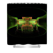 Computer Generated Green 3d Abstract Fractal Flame Art Shower Curtain