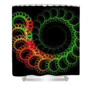 Computer Generated Green Red Abstract Fractal Flame Modern Art Shower Curtain