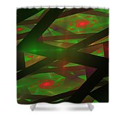 Computer Generated Green Triangles Abstract Fractal Flame Abstract Art Shower Curtain