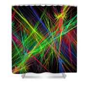 Computer Generated Lines Abstract Fractal Flame Black Background Shower Curtain