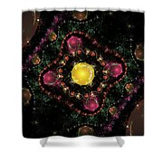 Computer Generated Pink Green Abstract Fractal Flame Black Background Shower Curtain
