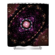 Computer Generated Pink Magenta Abstract Fractal Flame Black Background Shower Curtain