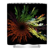 Computer Generated Red Yellow Green Abstract Fractal Flame Black Shower Curtain