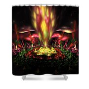 Computer Generated Red Yellow Green Abstract Fractal Flame Shower Curtain