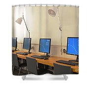 Computer Lab In A Simulation Medical Shower Curtain