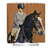 Concentration - Hunter Jumper Horse And Rider Shower Curtain