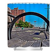 Coney Island Bench View Shower Curtain