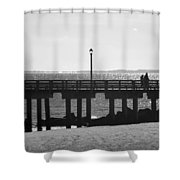 Coney Island Coast In Black And White Shower Curtain