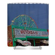 Coney Island Facade Shower Curtain