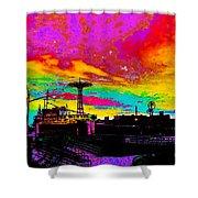 Coney Island In Neon B Flat Minor Shower Curtain