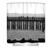 Coney Island Pier In Black And White Shower Curtain