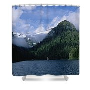 Conifer-covered Coastline Of Warm Shower Curtain