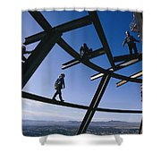 Construction Workers On Beams Shower Curtain