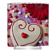 Cookie And Candy Hearts Shower Curtain