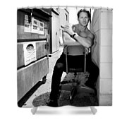 Cool Alley Cat Bw Palm Springs Shower Curtain