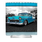 Cool Blue Chevy Shower Curtain