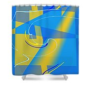 Coolbluelines Shower Curtain