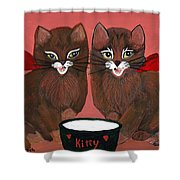 Copper Kitty Shower Curtain