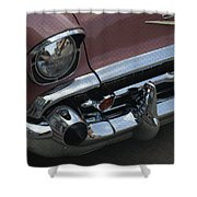 Coral Chevy Halftone Shower Curtain