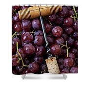 Corkscrew And Wine Cork On Red Grapes Shower Curtain