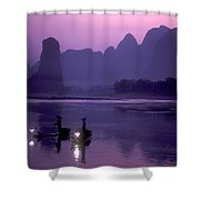 Cormorant Fishers Work At Dusk Shower Curtain