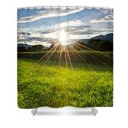Corn Field In Backlight Shower Curtain