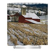Corn Stubble And Barn In A Wintery Shower Curtain
