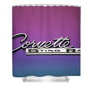 Corvette Sting Ray Emblem Shower Curtain