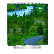 Cosmic River Road Shower Curtain