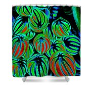 Cosmic Watermelon Leaves Shower Curtain