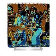 Cosmic Winter Blues 1975 Shower Curtain