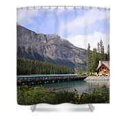 Crossing Emerald Lake Bridge - Yoho Nat. Park, Canada Shower Curtain
