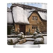 Cotswolds Cottage Covered In Snow Shower Curtain