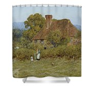 Cottage At Broadham Green Surrey In Sunset Light Shower Curtain