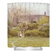 Cottage Freshwater Isle Of Wight Shower Curtain by Helen Allingham