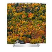 Cottage In Front Of Autumn Colours Shower Curtain