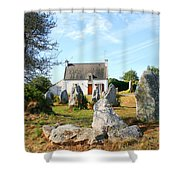 Cottage With Standing Stones Shower Curtain