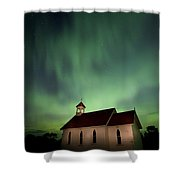 Country Church And Northern Lights Shower Curtain