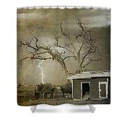 Country Horses Lightning Storm Ne Boulder Co 66v Bw Art Shower Curtain