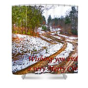 Country Lane Holiday Card Shower Curtain