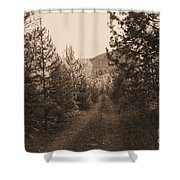 Country Road In Sepia  Shower Curtain