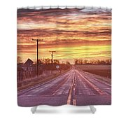 Country Road Sunrise Shower Curtain