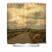 Country Road With Wildflowers Shower Curtain