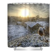 Country Snow And Sunrise Shower Curtain by Yhun Suarez